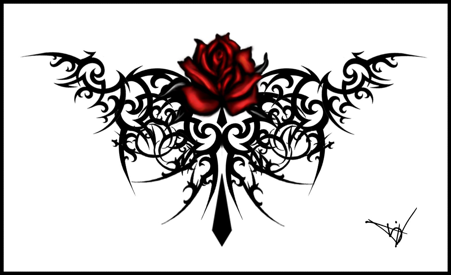 Gothic Tribal Rose Tattoos | rosa tribale | Tatuaggi | Pinterest ...