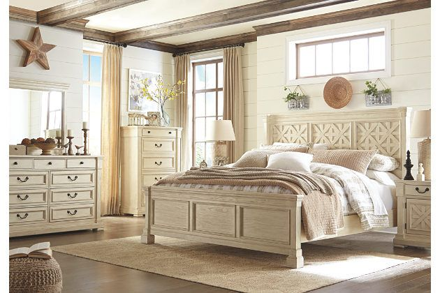 country style white wood bed frame and matching furniture set ...