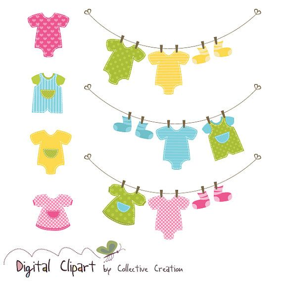 baby clothes line onesies clipart set ideal for scrapbooking rh pinterest com baby girl clothesline clipart baby clothes clothesline clipart