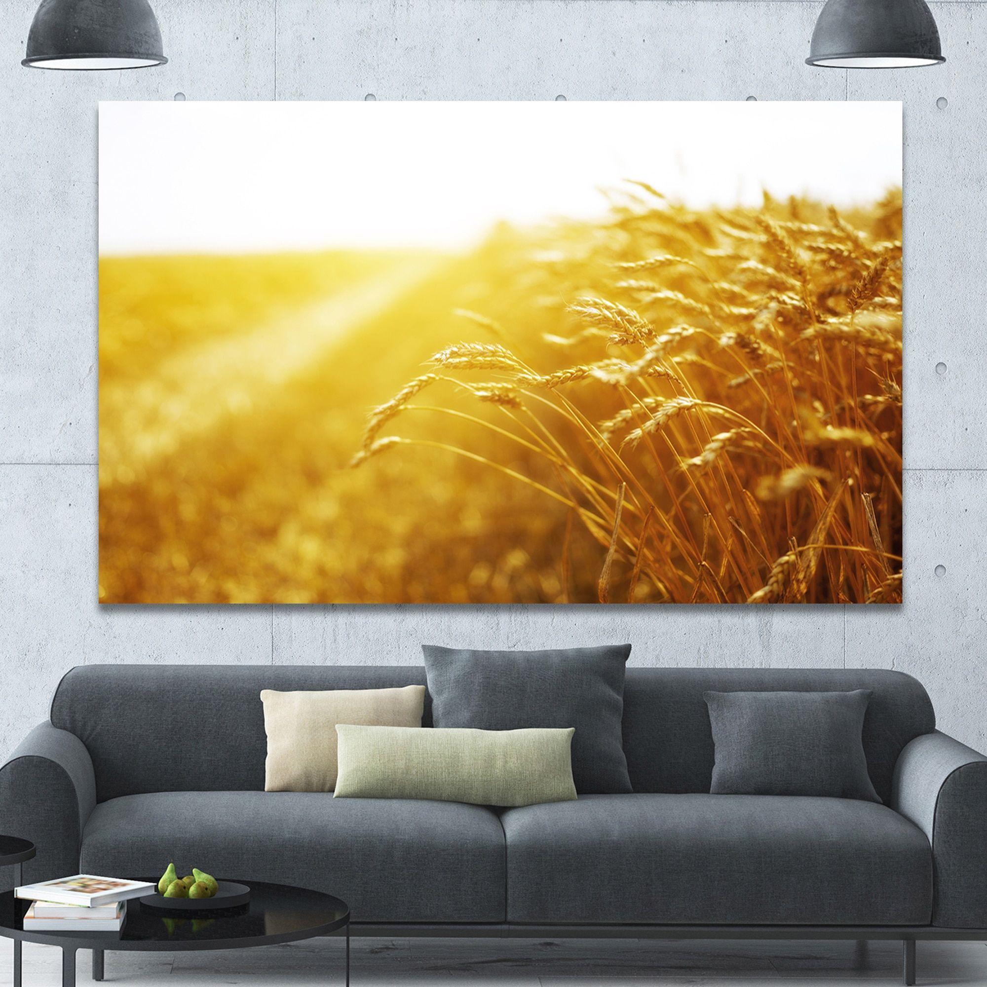 DESIGN ART Designart \'Bright Sunset over Wheat Field\' Landscape ...