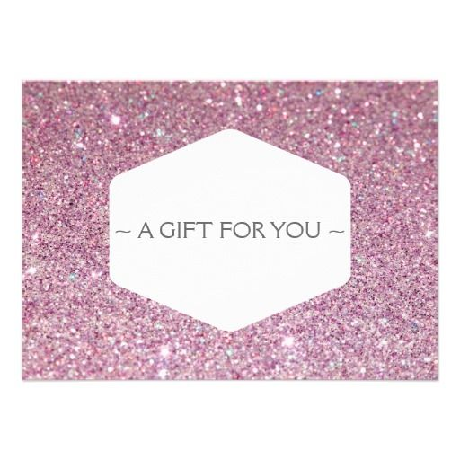 Elegant white emblem pink glitter gift certificate card gift elegant white emblem pink glitter gift certificate card yadclub Choice Image