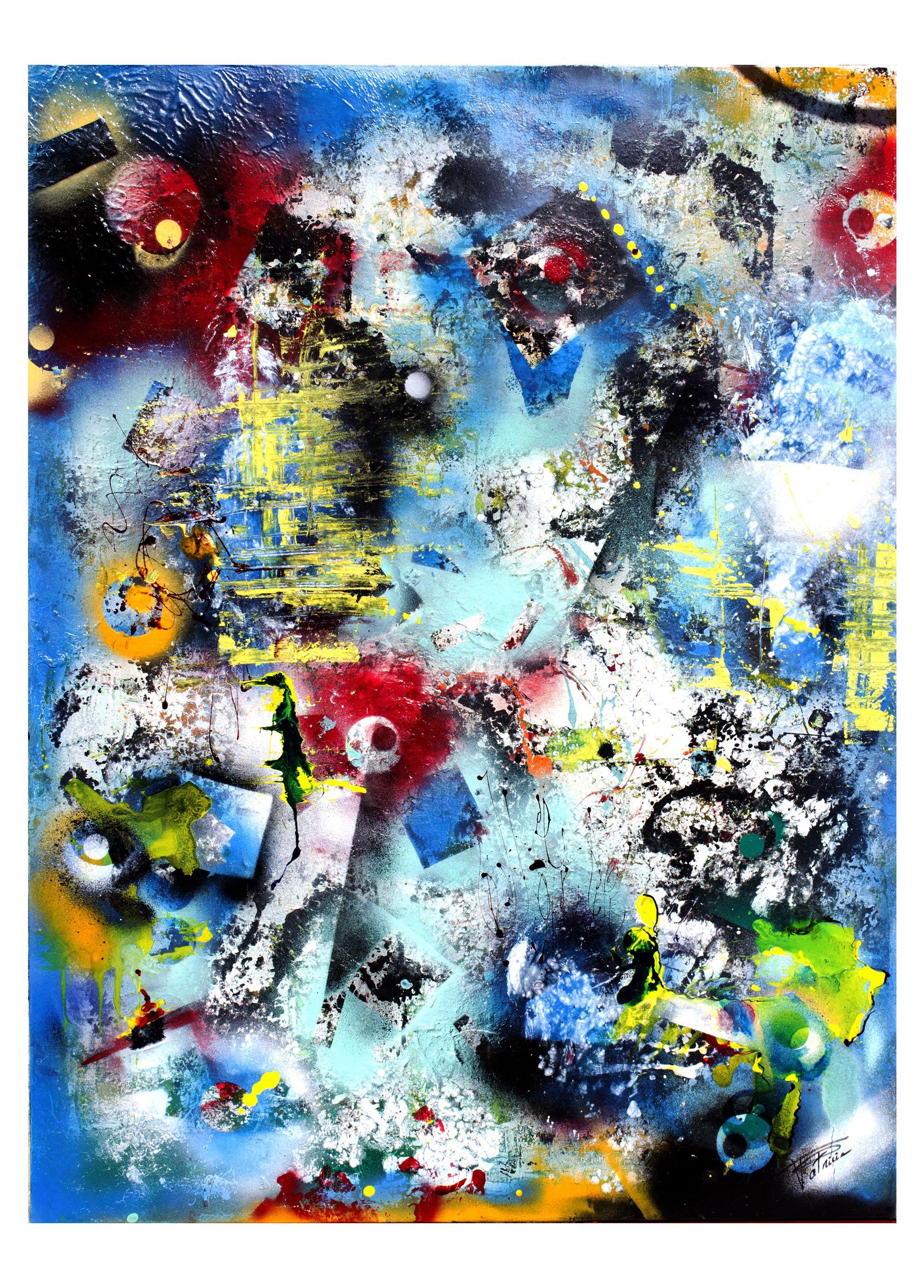 Peinture, Art Abstrait, Technique Bombe, Acrylique, Glycero U0026 Encres