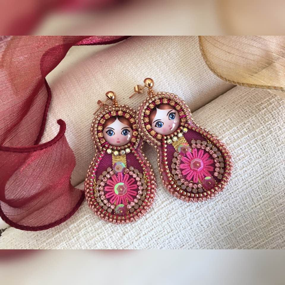 Matryoshka Earrings Embroidered Nesting Doll