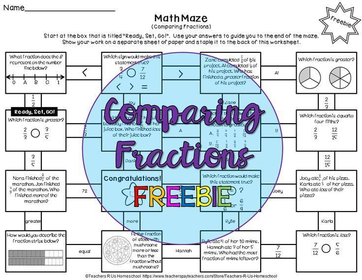 Comparing Fractions Math Maze is such a fun activity for students to ...
