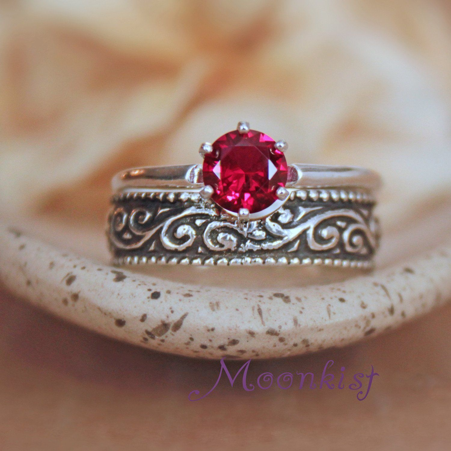 Vintage style ruby solitaire silver engagement ring set with wide