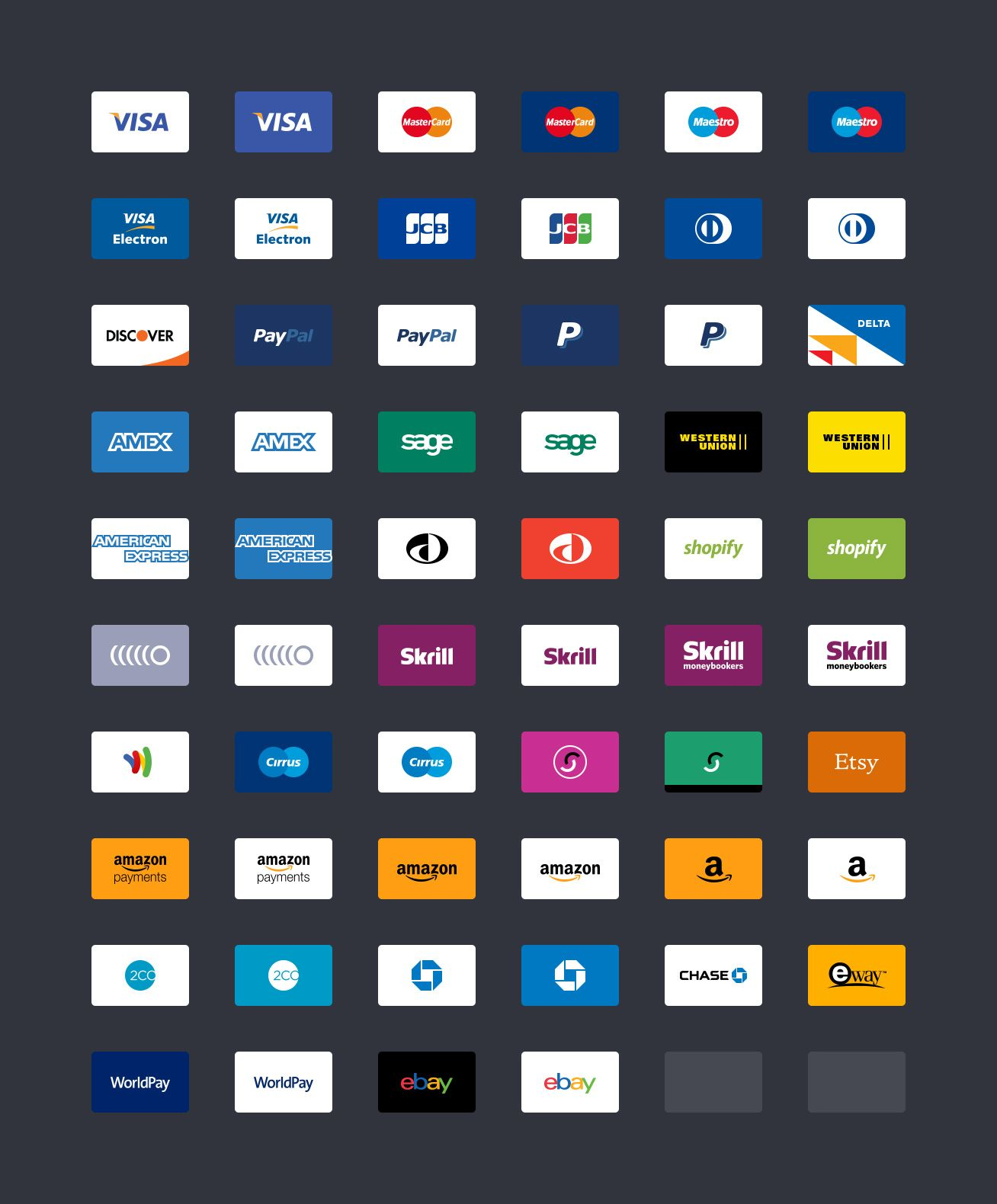 Free payment method credit card icons for your