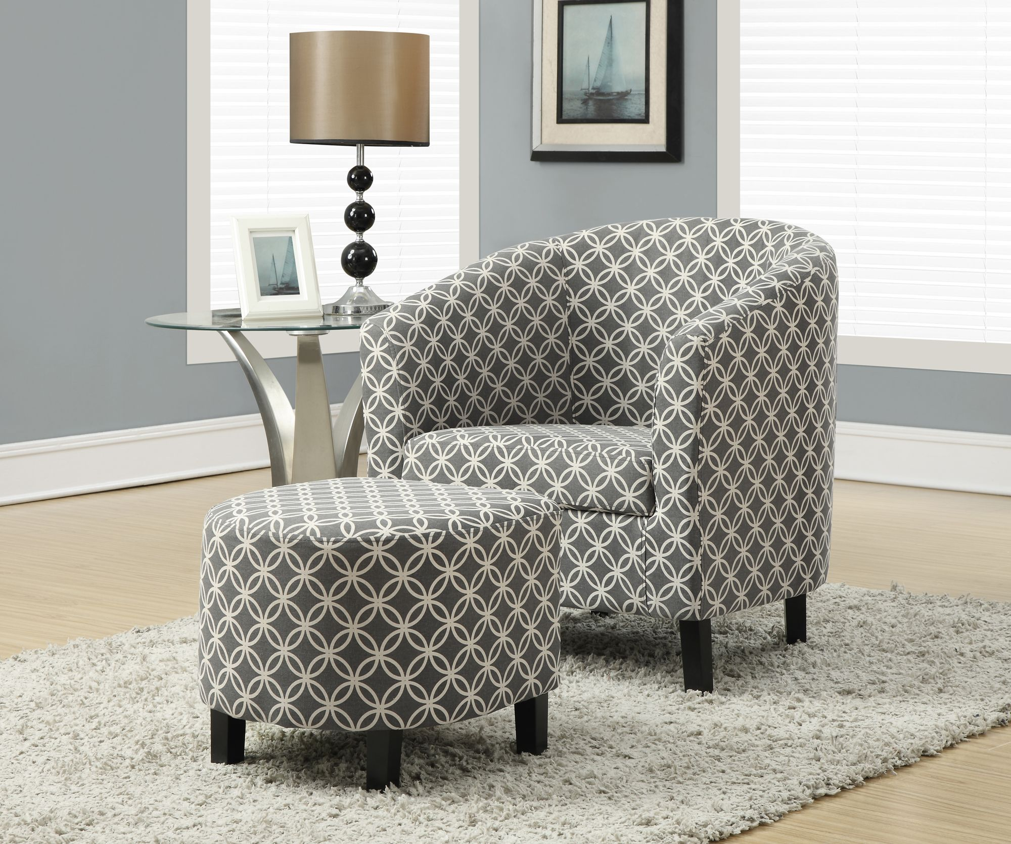 Grey Patterned Accent Chair Cool Decoration
