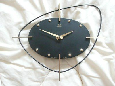 Original 1960 S French Early Space Age Battery Wall Clock