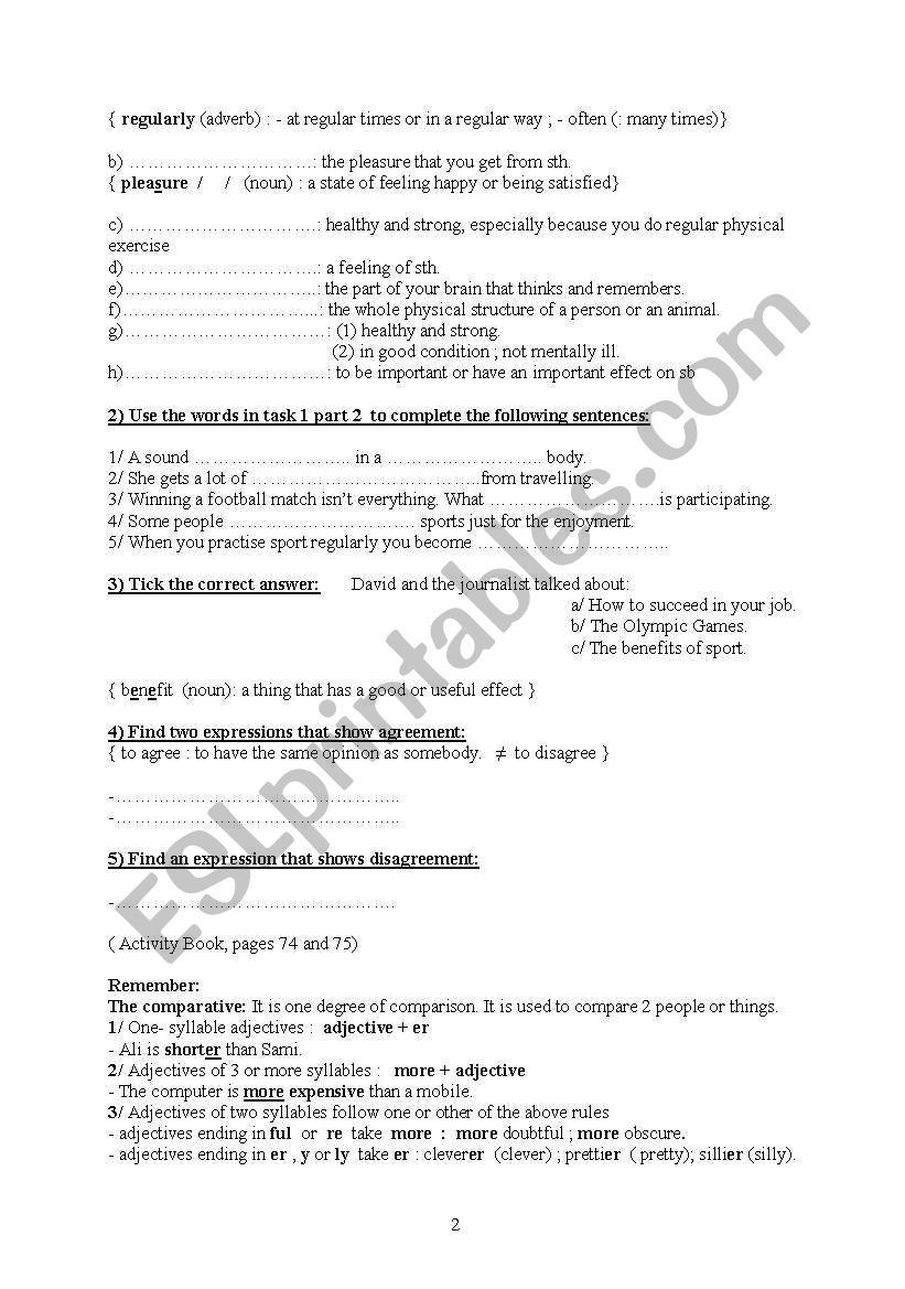 Lesson 4 Module 3 8thgr Sporting Activities Vocabulary Worksheets Lesson Activities