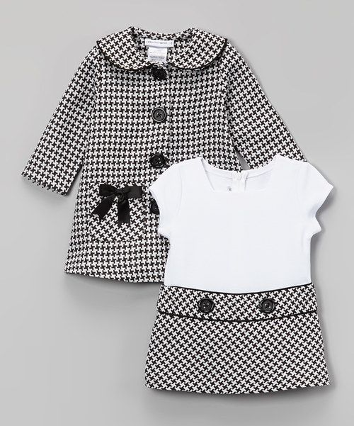 Look at this Gerson & Gerson Black Houndstooth Bow Peacoat & Dress - Infant, Toddler & Girls on #zulily today!