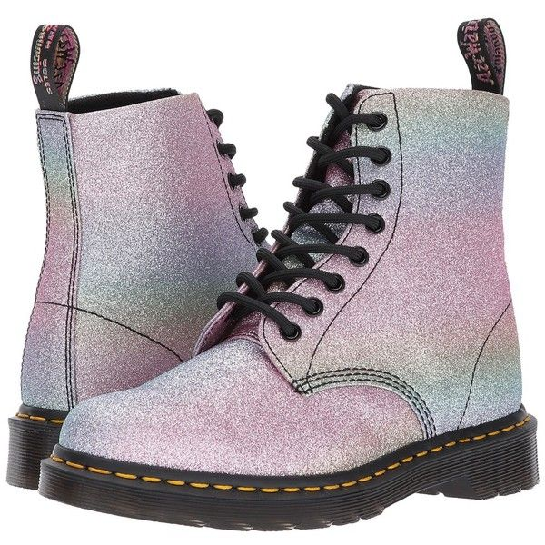c271ab944153 Dr. Martens Pascal Glitter 8-Eye Boot (Multi Glitter PU) Women's Boots  ($120) ❤ liked on Polyvore featuring shoes, boots, anti slip shoes, lace up  shoes, ...