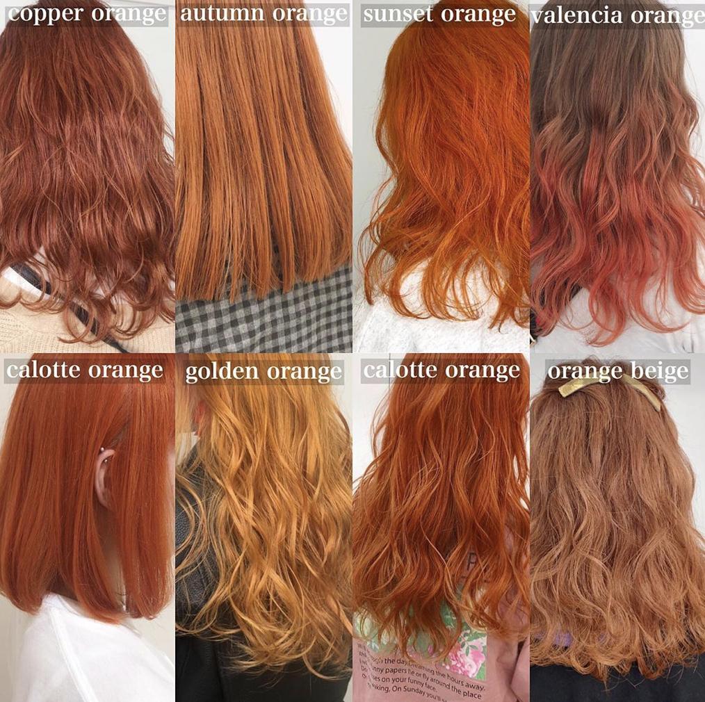 ヘアカラー 髪色 髪型 バイオレット ラベンダー アッシュ ピンク 赤 レッド オレンジ イエロー パープル バイオレット インナーカラー ベージュ ホワイト トレンドヘアスタイル 髪色 オレンジ 髪 色 ヘアスタイリング