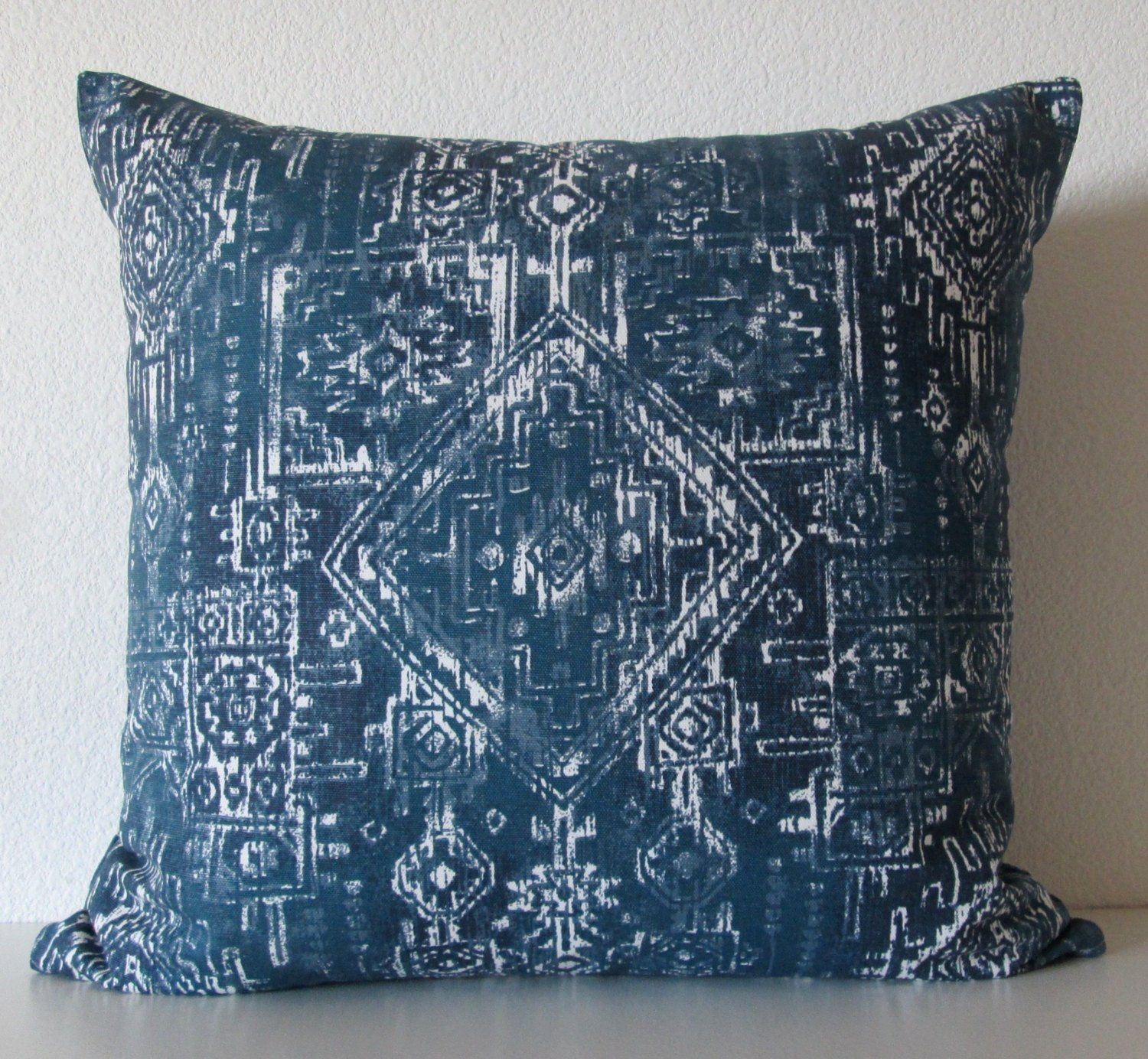 Boho chic navy tribal decorative pillow cover. List price is for a ...