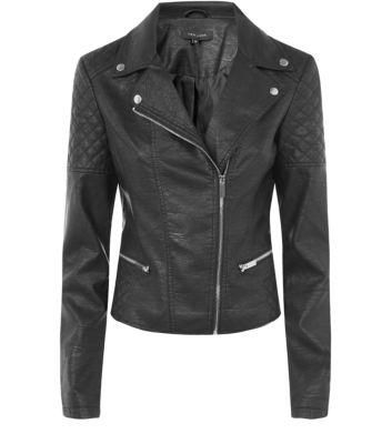 Black Leather-Look Biker Jacket #jacket #covetme #newlook #biker #bikerjacket #fashion #loveit