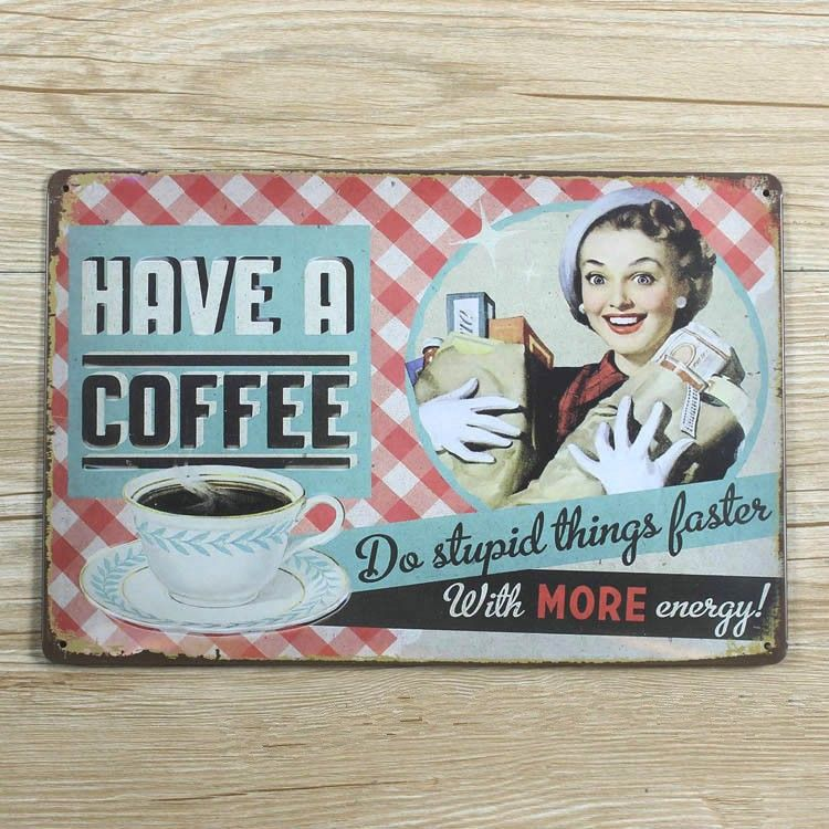 New Arrivals smile and have a coffee sexy lady UA-0034 metal Tin signs home decor bar Vintage plate wall art craft 20x30cm $7.99