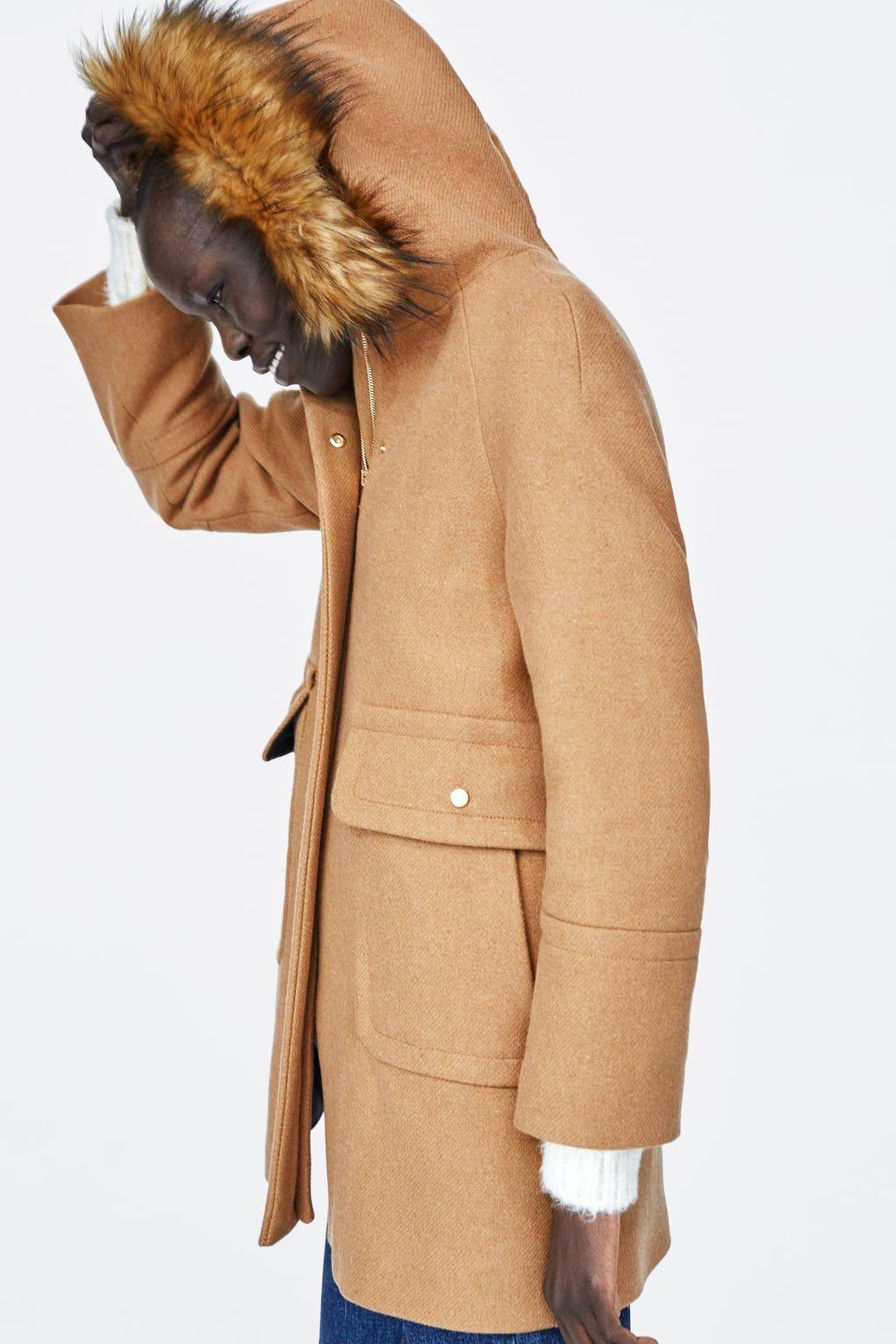 abrigo bolsillos capucha zara