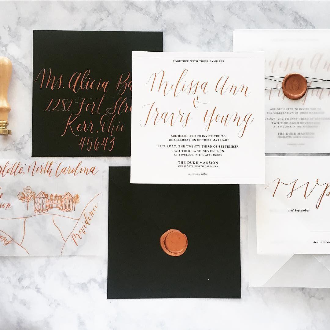 Black, copper, and vellum calligraphy wedding invitations | Pretty ...