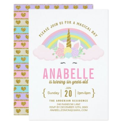 rainbow glitter unicorn birthday party invitation pinterest