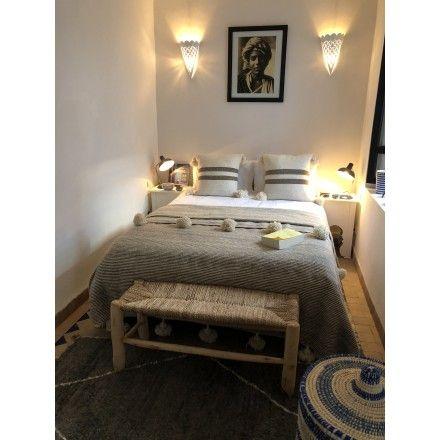 Le Madressa, Banc bois et paille grand modèle ambiance chambre - maison bois et paille