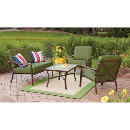Mainstays Crossman 4 Piece Patio Conversation Set, Green, Seats 4   Walmart.