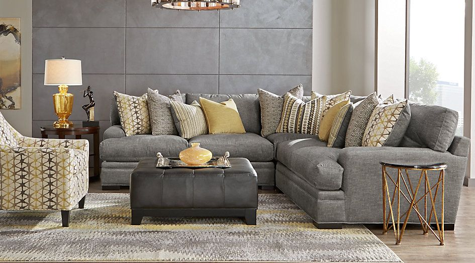 Picture Of Cindy Crawford Home Palm Springs Gray 3 Pc Sectional From Furniture