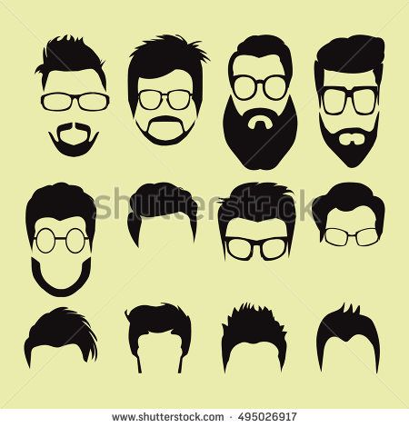 Vector Set Of Men Cartoon Hairstyles With Beards And Mustache Collection Of Fashionable Stylish Hairstyles And Gl Beard Cartoon Cartoon Hair Beard No Mustache