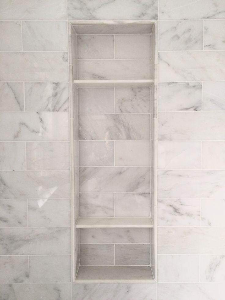 Carrara Marble Shower Niche   Clean Looku2026