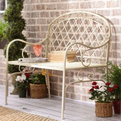 Fantastic Product Details Cottage White Metal Bench Outdoor Gmtry Best Dining Table And Chair Ideas Images Gmtryco