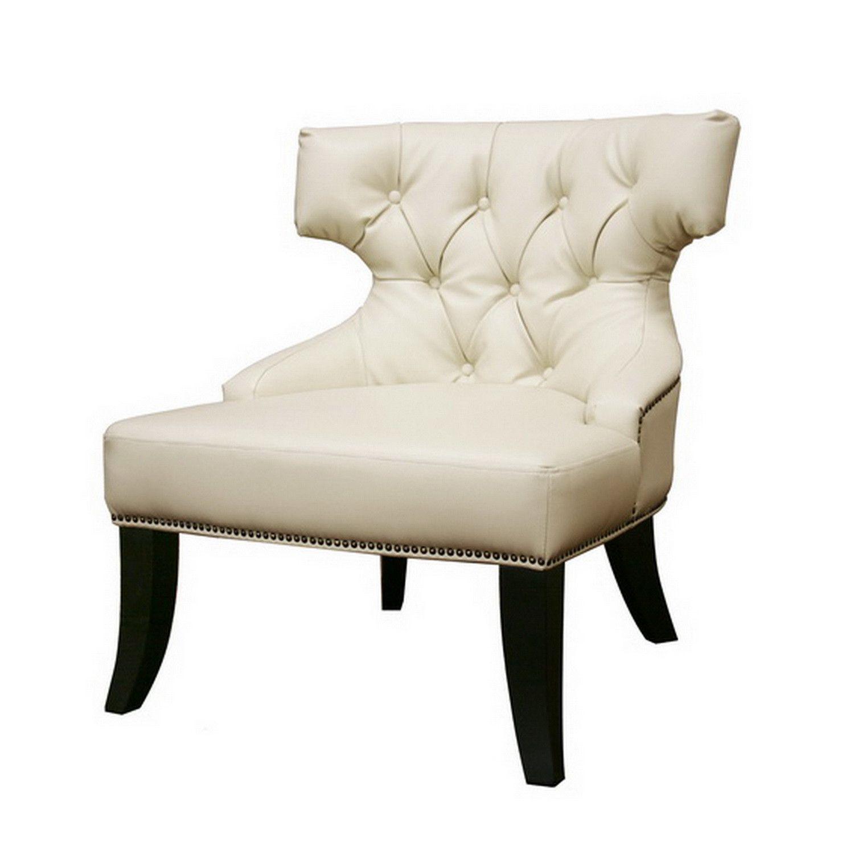 Black leather club chair nailhead - Baxton Studio Taft Off White Leather Club Chair