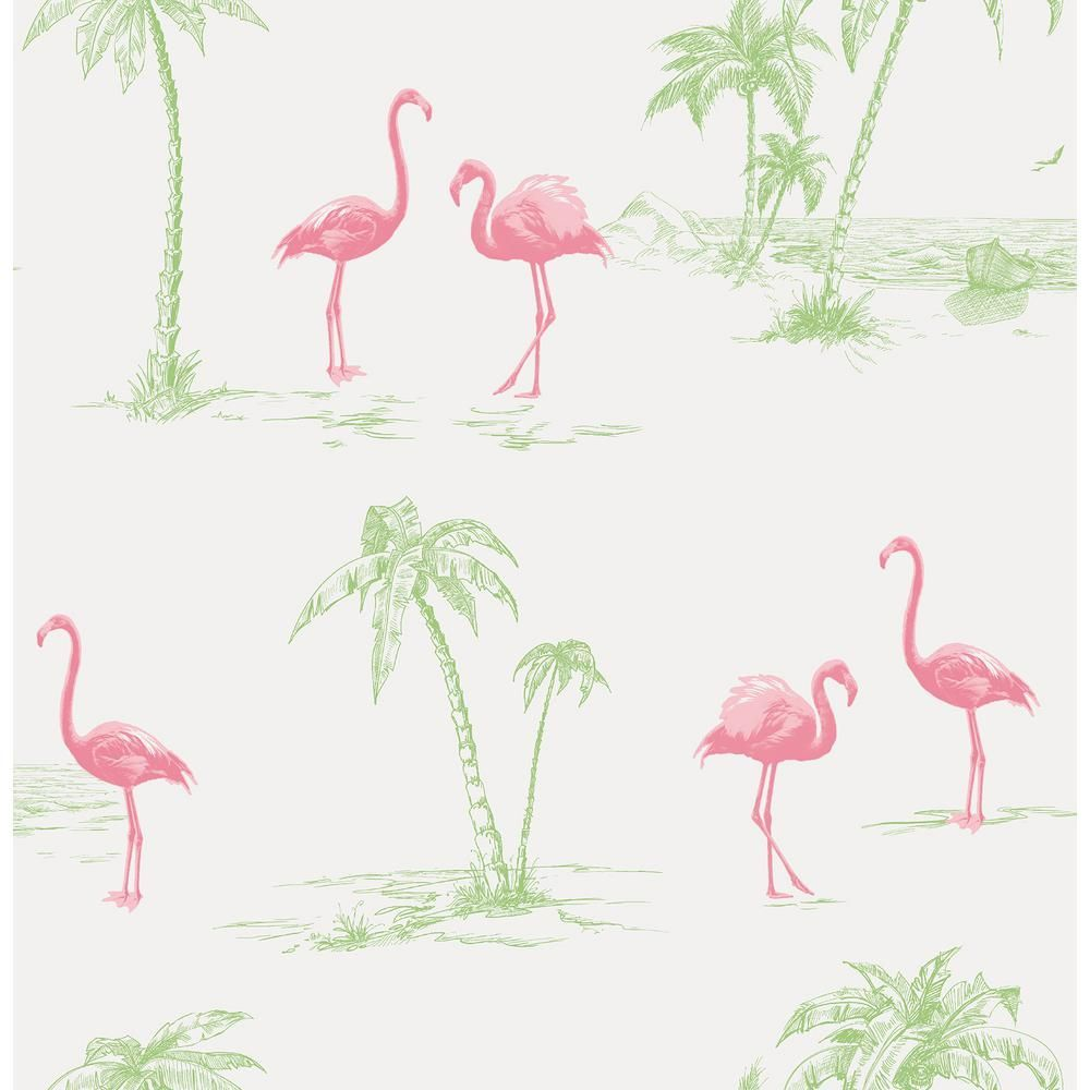 Brewster Sarasota Pink Flamingos Strippable Roll (Covers 56.4 sq. ft.)