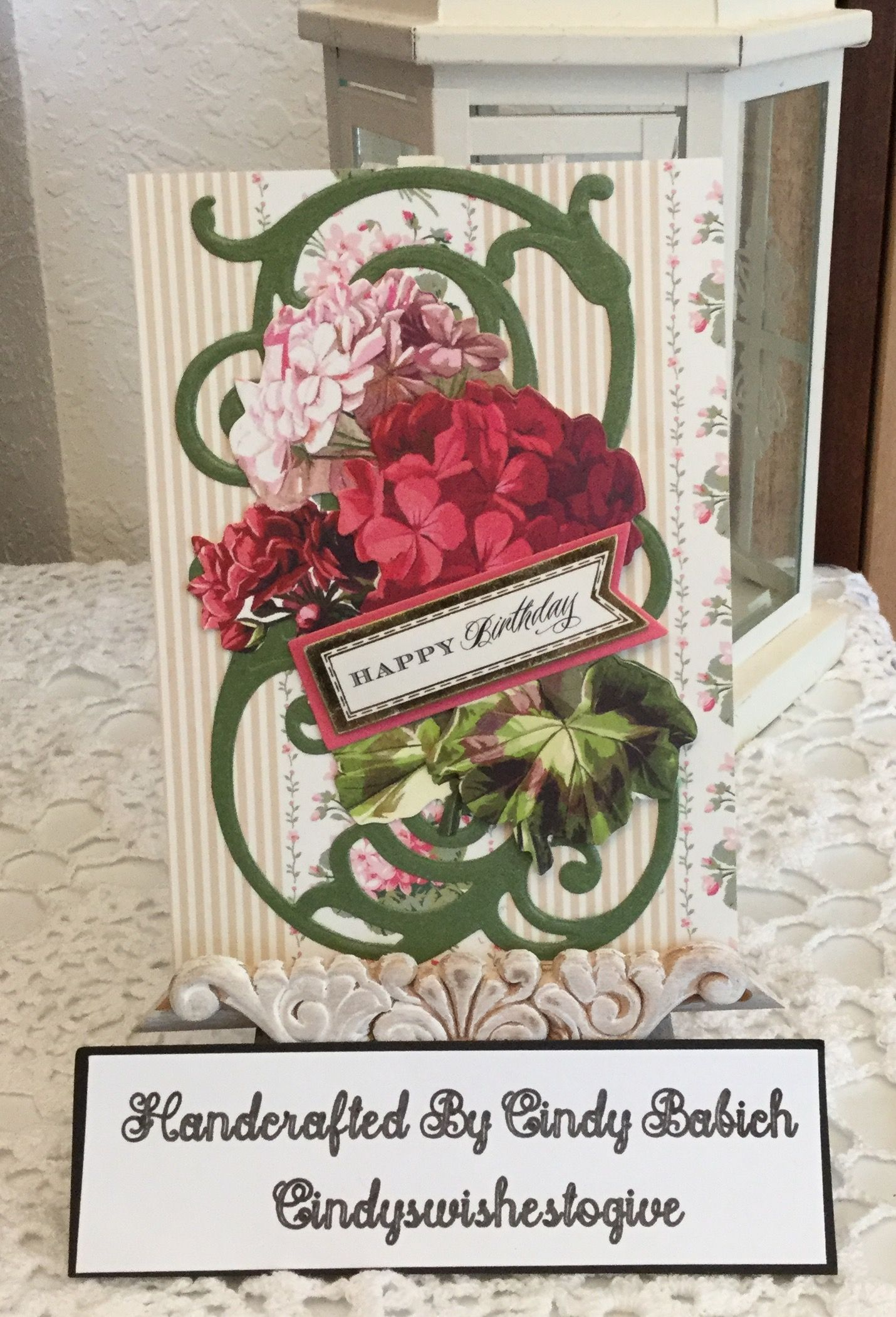 birthday card  made with anna griffin florish scroll