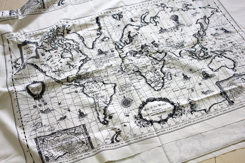 Panel cotton linen fabric vintage world map 140 cm x 75 cm 55 x panel cotton linen fabric vintage world map 140 cm x 75 cm 55 x gumiabroncs Gallery