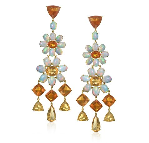 Nina Runsdorf gold drop earrings with white and fire opals ...