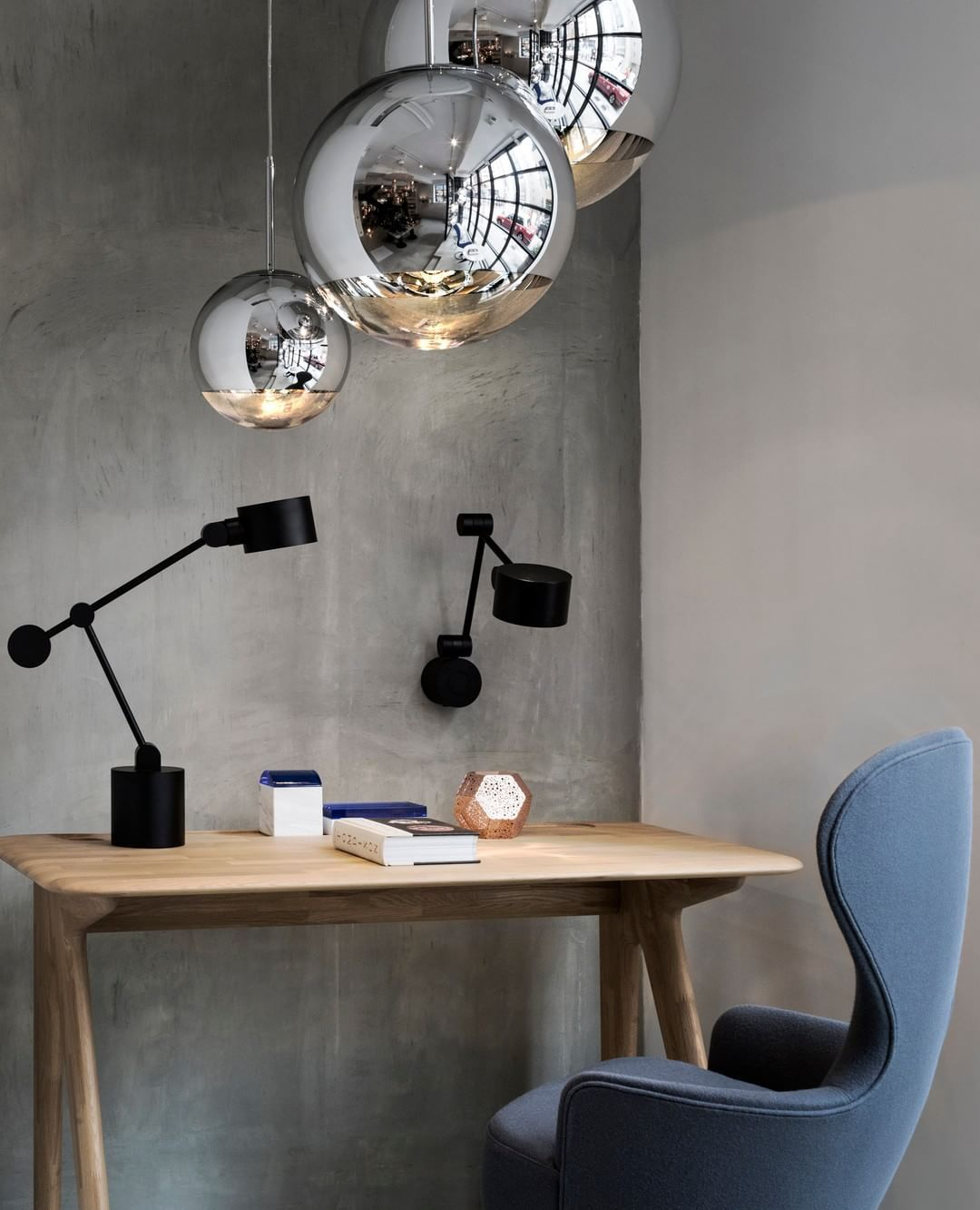 An Extraordinarily Quiet Corner In Our Hong Kong Shop Featuring Mirror Ball Pendants Boom Wall And Table Lights Slab Table W Slab Desk Tom Dixon Desk Design