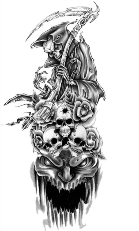 Tattoo Idea Skull Sleeve Tattoos Reaper Tattoo Grim Reaper Tattoo