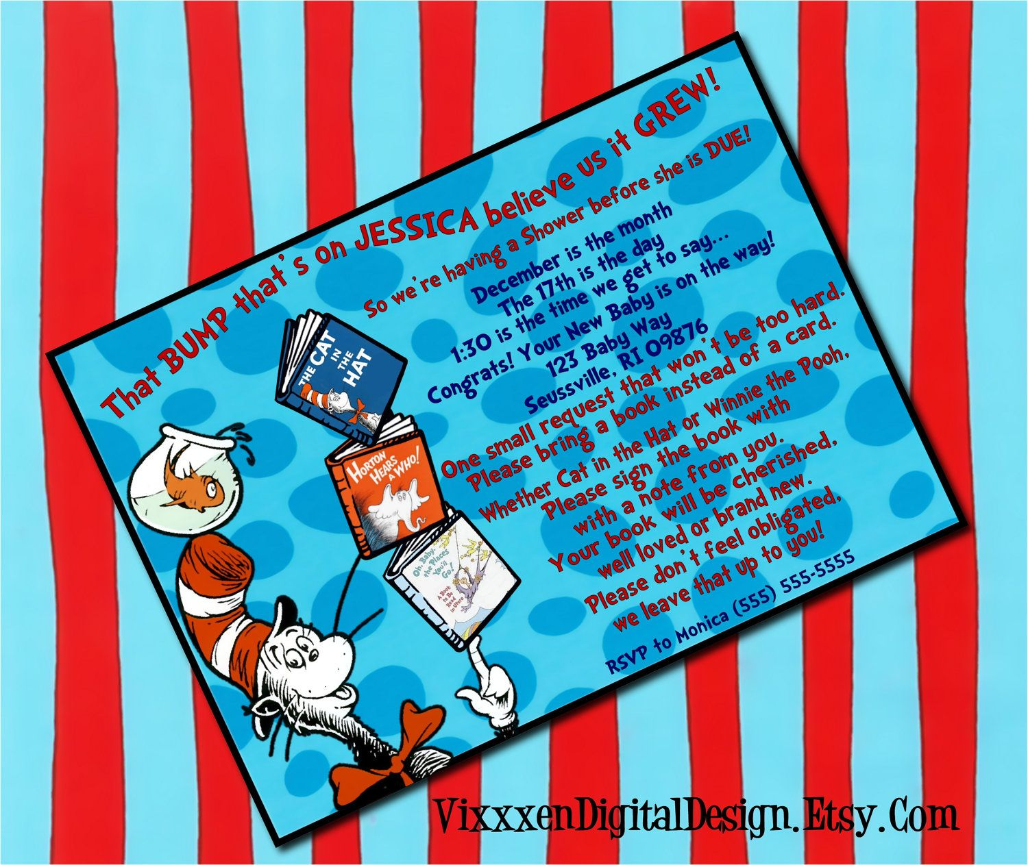 DR. SEUSS baby shower Invitation bring a book personalized ...