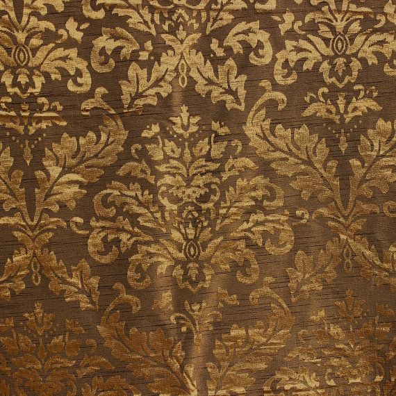 Gold And Olive Damask Fabric Upholstery Fabric Curtain
