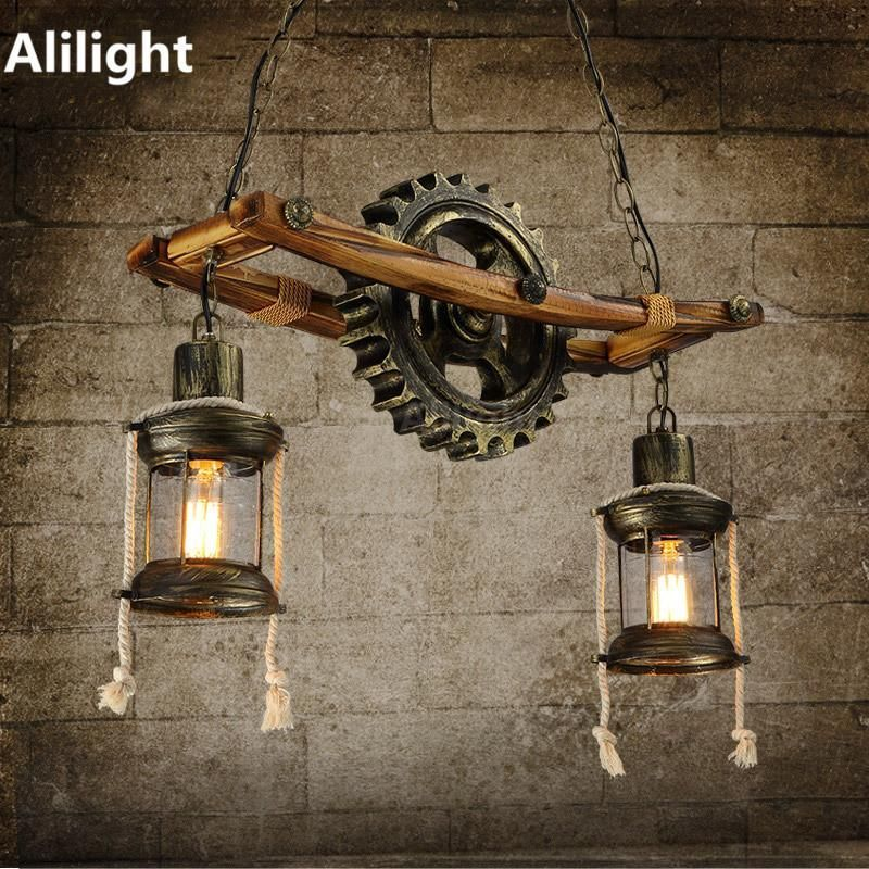 Vintage Creative Pendant Light Retro Wood Art Pendant