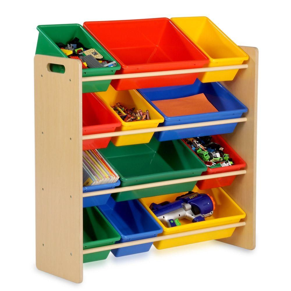 Honey-Can-Do Kids Toy Storage Organizer with Plastic Bins, Natural images