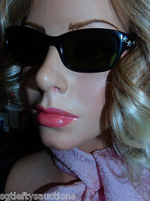 Vintage 1950's Black Tinted Rhinestones and Star Studs Sun Glasses Made in Japan