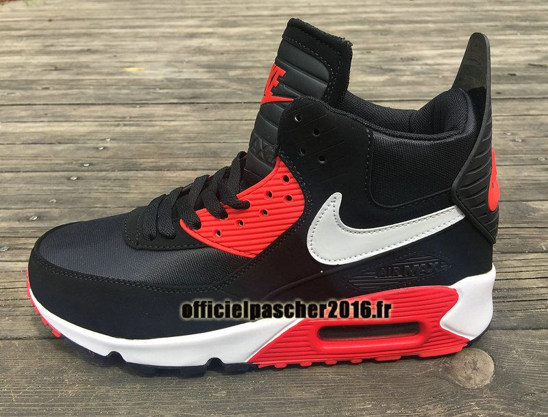 size 40 5f21a 507aa Officiel Nike Air Max 90 Sneakerboot Winter Chaussures Nike Basketball Pas  Cher Pour Homme Noir - Blanc - Rouge