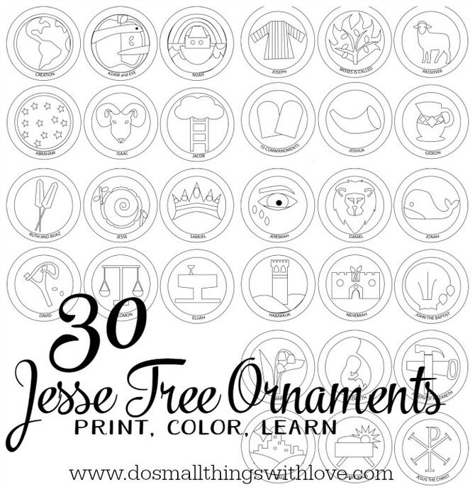 30 Jesse Tree Ornaments To Print And Color Jesse Tree Ornaments