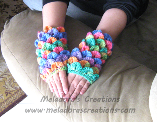 Crocodile Stitch Finger less Gloves - Free Crochet Pattern | Crafts ...