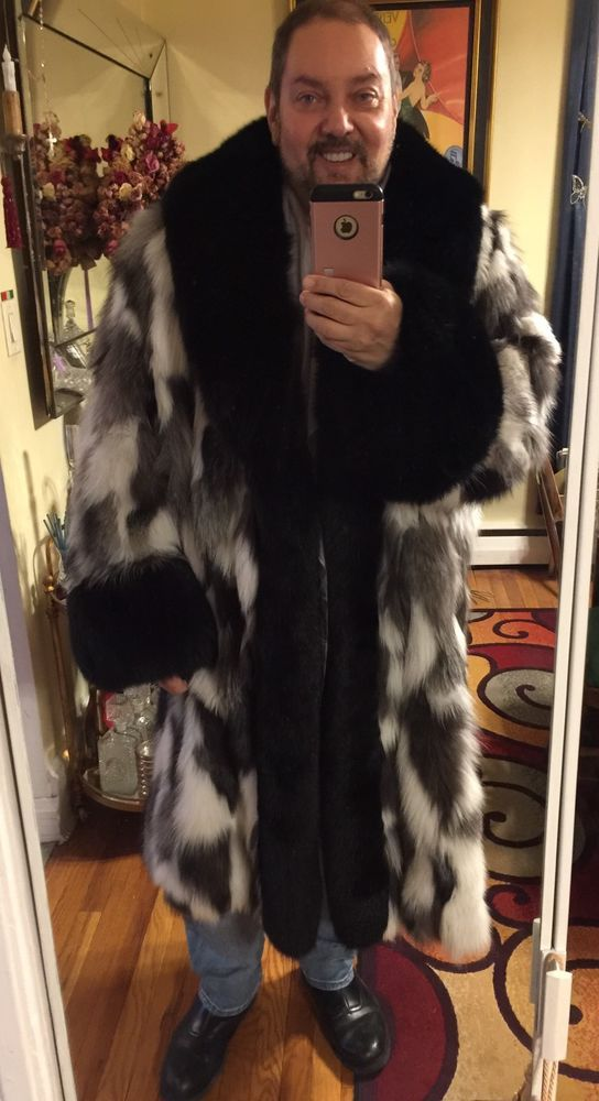 0d6f00b98c Men's Custom Made Big Tall 4xl Platinum Black Fox Fur Coat | Clothing,  Shoes & Accessories, Men's Clothing, Coats & Jackets | eBay!