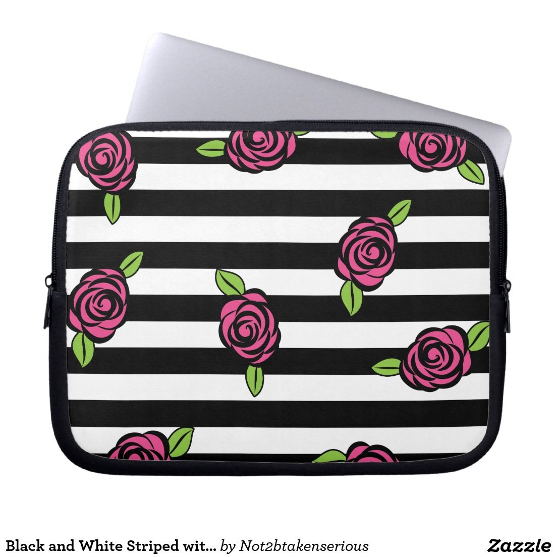 Black and White Striped with Pink Roses Laptop Sleeve