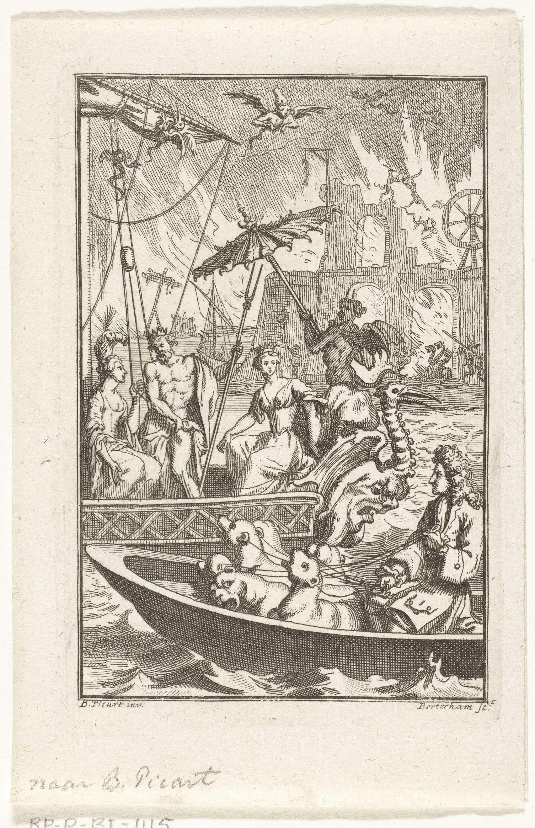 Jan Baptist Berterham   Havengezicht met bootjes en demonen voor brandend fort, Jan Baptist Berterham, 1696 - 1721   Man met zeehonden in bootje vaart voorbij schip met Zeus en twee dames terwijl een fort in vlammen opgaat en demonen door de lucht vliegen