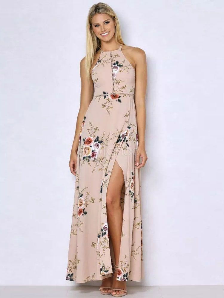 1bb8adc387a White Maxi Dress Floral Print Women s Halter Backless Sleeveless High Split  Long Dress-No.6