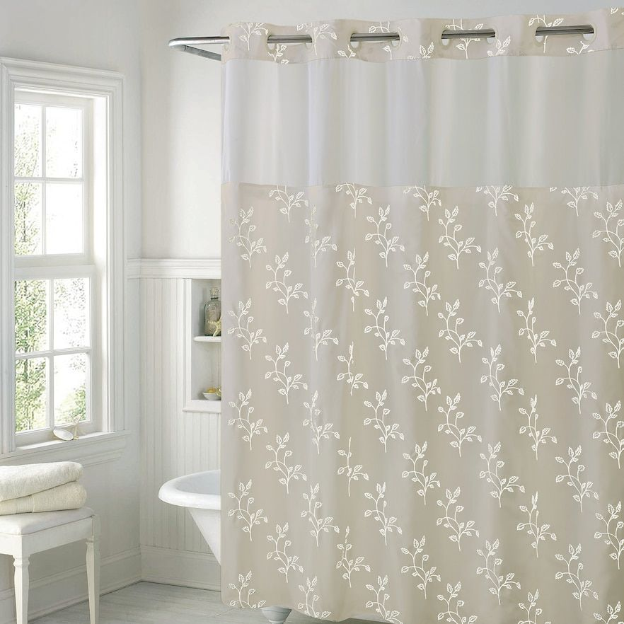 Hookless Spring Leaves Shower Curtain Liner Beige Curtains