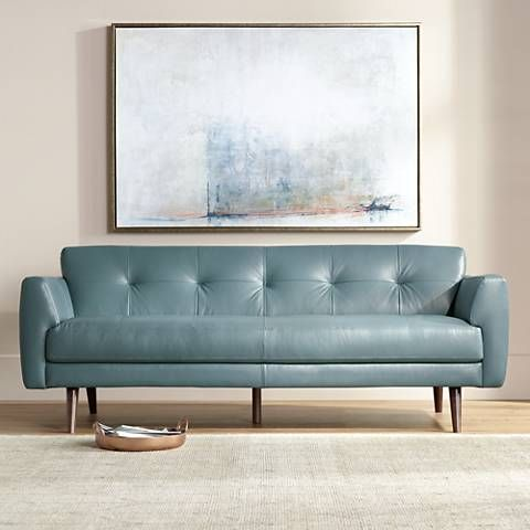 Relax On This Stylish Top Grain Blue Italian Leather Sofa, Which Has  Wonderful Tufted Detailing. Wide X Deep X High. Seating Area Is Wide X Deep  X High From ...