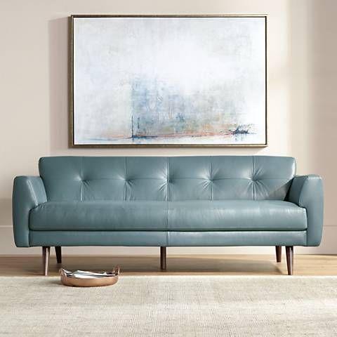 Blue Italian Leather Sofa Natuzzi Turquoise Italian